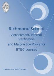 Assessment and Internal Verification Malpractice ... - Richmond School