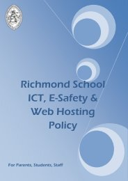 ICT, E-Safety & Web Hosting Policy - Richmond School