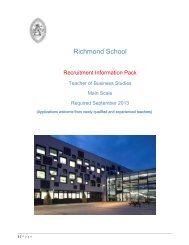Equal Opportunities Monitoring - Richmond School