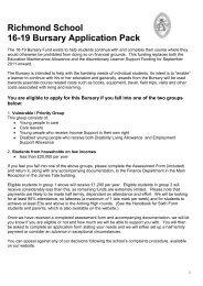 Richmond School 16-19 Bursary Application Pack