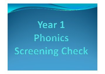 Phonics Screening Check Information