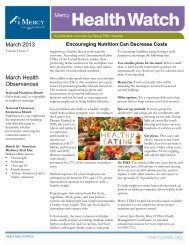 March issue of Mercy Health Watch