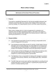 Admissions & Enrolment Policy & Procedure - West Lothian College