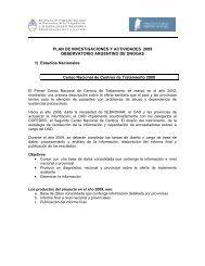 Plan de investigaciones 2009 - Observatorio Argentino de Drogas