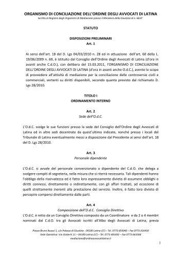organismo di conciliazione dell'ordine degli avvocati di latina