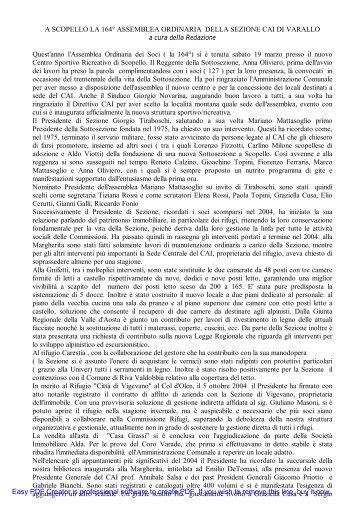A SCOPELLO LA 164° ASSEMBLEA ORDINARIA DELLA SEZIONE ...