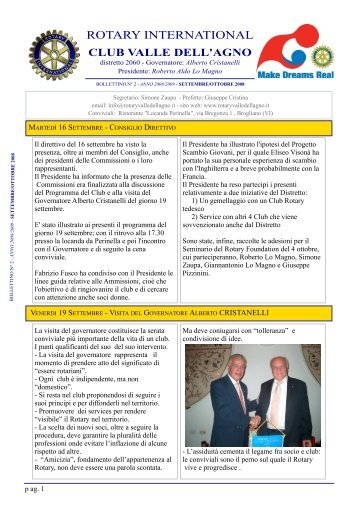 Bollettino Rotary Club Valle Dell'Agno - Rotary International Distretto ...