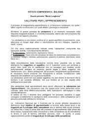 VALUTARE PER L'APPRENDIMENTO - Scuola Primaria Longhena