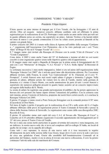 """COMMISSIONE """"CORO VARADE"""" - CAI Sezione Varallo Sesia"""