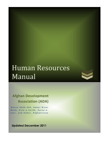 Human Resources Manual - Afghan Development Association