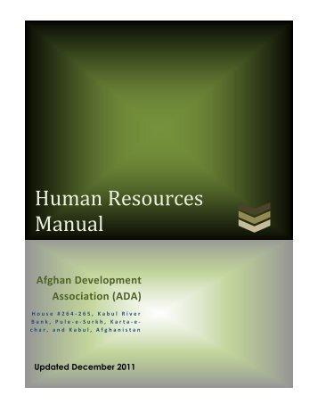 Human Resources Manual - Afghan Development Association