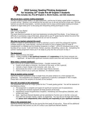 Summer reading assignments high school