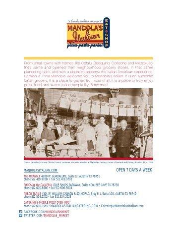 Mandola's Menu - Mandola's Italian Market