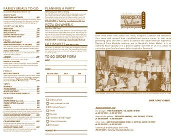 let us do the cooking for you (serves 8 - 10) - Mandola's Italian Market