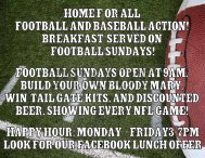 football sundays open at 9am. build your own - The Moon Saloon