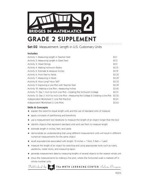 GRADE 2 SUPPLEMENT - Bridges First Edition Support - The Math