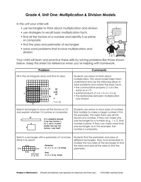 Grade 4, Unit One: Multiplication & Division Models