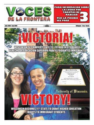 Julio 2009 / July 2009 Bilingual – Free / Gratis - Voces De La Frontera