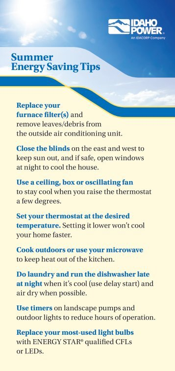 Idaho Power - Summer Energy Saving Tips Card