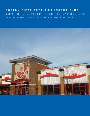 2006 Third Quarter Report - Boston Pizza Royalties Income Fund