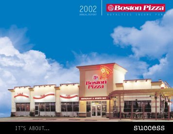 2002 Annual Report - Boston Pizza Royalties Income Fund