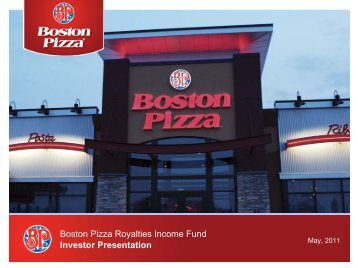 Investor Presentation Boston Pizza Royalties Income Fund