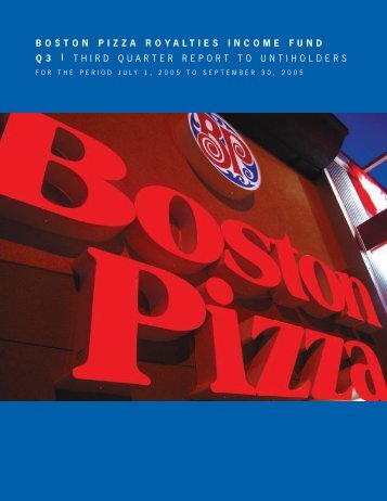 2005 Third Quarter Report - Boston Pizza Royalties Income Fund