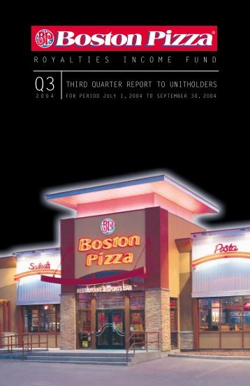 2004 Third Quarter Report - Boston Pizza Royalties Income Fund