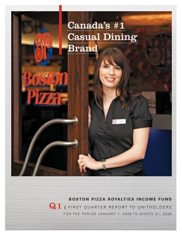 2008 First Quarter Report - Boston Pizza Royalties Income Fund