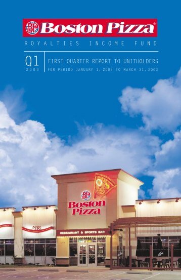 2003 First Quarter Report - Boston Pizza Royalties Income Fund