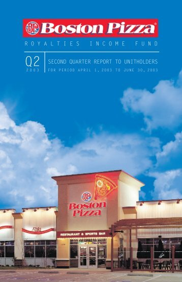 2003 Second Quarter Report - Boston Pizza Royalties Income Fund