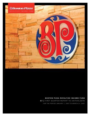 2007 First Quarter Report - Boston Pizza Royalties Income Fund