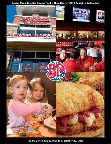 Boston Pizza Royalties Income Fund – Third Quarter 2010 Report to ...