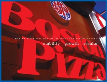 2004 Annual Report - Boston Pizza Royalties Income Fund