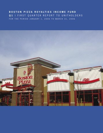 2006 First Quarter Report - Boston Pizza Royalties Income Fund