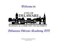 Welcome to Delaware Citizens Academy 2011 - City of Delaware