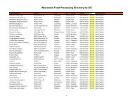 Wisconsin Food Processing Directory by SIC - Forward Wisconsin