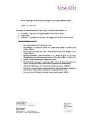 Informativa Al Mercato Ai Sensi Dell Art 114 Comma 5 D Lgs Tiscali