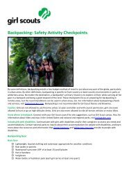 Backpacking: Safety Activity Checkpoints - Girl Scouts