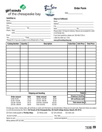 GIRL SCOUT SHOP MAIL/PHONE ORDER FORM THANK YOU ...