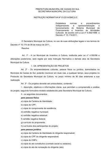 Instrução Normativa Nº 01/2013 - Prefeitura de Caxias do Sul