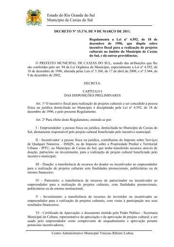 Decreto Nº 15.174, de 9 de março de 2011 - Prefeitura de Caxias do ...