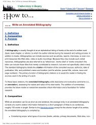 UCSC Library - How To Write an Annotated Bibliography