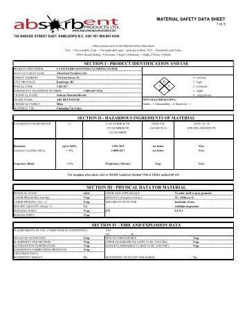 Msds Sheet For Tidy Cat Litter