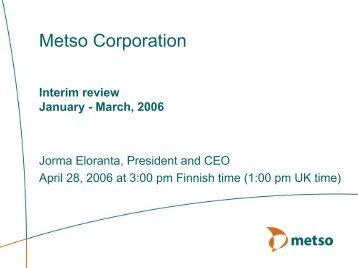Presentation in English (pdf) - Metso