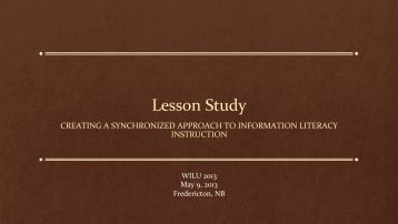 Lesson Study - UNB Libraries