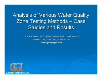 Analysis of Various Water Quality Zone Testing Methods - Glorieta ...