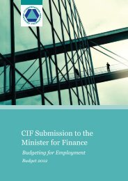 CIF Submission to the Minister for Finance