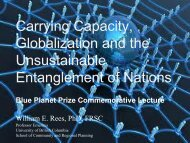 Carrying Capacity, Globalization and the Unsustainable ...