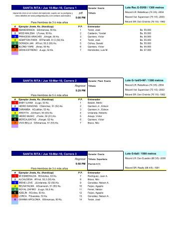 SANTA RITA / Jue 18-Mar-10, Carrera 1 SANTA RITA / Jue 18-Mar ...